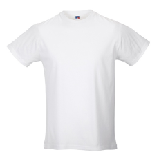 RUSSEL Hosszított, vékony fazonú Russel férfi póló, fehér
