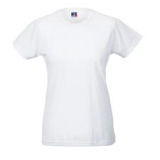 RUSSEL Női póló, hosszított, vékony fazonú, fehér női póló