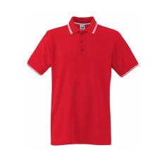 Fruit of the Loom Kontrasztcsikos férfi galléros piké póló, piros-fehér