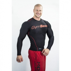 GymBeam Clothing Kompressziós hosszú ujjú felső Spiro Black/Red - Gym Beam