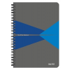 """Leitz Spirálfüzet, A5, vonalas, 90 lap, laminált karton borító, LEITZ """"Office"""", szürke-kék"""