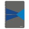 """Leitz Spirálfüzet, A5, kockás, 90 lap, laminált karton borító, LEITZ """"Office"""", szürke-kék"""