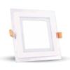 V-tac LED panel üveg kerettel - négyszög (12 Watt) természetes f