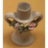 Gyertyatartó, porcelán virágokkal 2. jelú, 9,5 cm magas