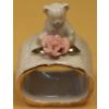 Szalvétagyûrû, porcelán macival és rózsával