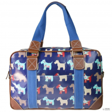L1106DG - Miss Lulu London Oilcloth utazó táska Scottie Dog Navy