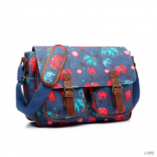 L1107E-Miss Lulu London Oilcloth táska Elephant Navy