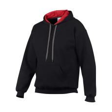 GILDAN pulóver bélelt kapucnival, fekete/piros