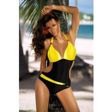 marko Egyrészes fürdőruha Beatrix Nero-Primula M-337 sárga-fekete