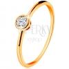 14K sárga arany gyűrű - csillogó kerek cirkónia fényes szegélyben