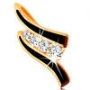 Medál 14K sárga aranyból - két fekete hullám, átlátszó cirkóniás sáv