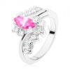 Gyűrű ezüst árnyalatban rózsaszín szemmel és átlátszó cirkóniákkal, hajlított szárak