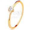 Fényes, 585 arany gyűrű - átlátszó cirkóniás szív fényes kerettel