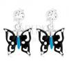 925 ezüst fülbevaló, fekete kék és fehér színben, kristály