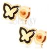 Fülbevaló 585 aranyból - fényes lapos pillangó, fekete fénymázas körvonal