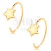 14K sárga arany fülbevaló - vékony félkör, fényes csillag
