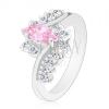 Csillogó gyűrű ezüst színben, rózsaszín szem, cirkóniás átlátszó vonal