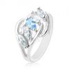 Ezüst színű fényes gyűrű, ívek, átlátszó és kék színű szem cirkónia