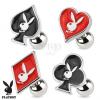 Acél piercing tragusba, játék kártya szimbólumok, Playboy