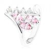 Fényes ezüst színű gyűrű, ívelt szárvégek, átlátszó és rózsaszín cirkónia