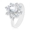 Ezüst színű gyűrű, átlátszó cirkóniás virág, fényes szárak