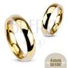 Acél jegygyűrű arany színben, 4 mm
