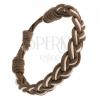 Kétszínű karkötő zsinórokból, bézs-barna fonat, állítható hossz