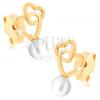 375 arany fülbevaló - két összekapcsolt szív, fehér gyöngy