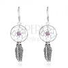 925 ezüst fülbevaló, álomfogó, lila golyó, tollak, 15 mm