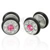 Hamis piercing - pink és tiszta cirkóniák, egy pár