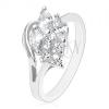Csillogó gyűrű ezüst színben, átlátszó csiszolt cirkóniák, fél szív körvonal