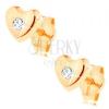 Beszúrós fülbevaló 14K sárga aranyból - fényes domború szív, átlátszó cirkónia