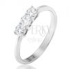 Gyűrű 14K fehér aranyból - három kerek átlátszó cirkónia, fényes, sima