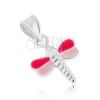 Medál 925 ezüstből, szitakötő rózsaszín szárnyakkal, fénymázzal