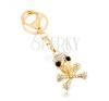 Kulcstartó, arany árnyalat, koponya keresztezett csontokkal, cirkóniák kulcstartó