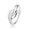 925 ezüst gyűrű, széles közép - sima hullám körvnal, magas fény