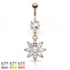 Acél köldök piercing, csillogó cirkónia virág átlátszó változatban, gyöngy