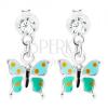 925 ezüst fülbevaló, fénymázas pillangó pöttyökkel, Swarovski kristály