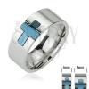Sebészeti acél gyűrű - kék kereszt