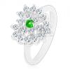 Ezüst színű gyűrű, átlátszó cirkóniás szív sötétzöld középpel