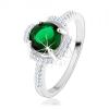 925 ezüst gyűrű, zöld virág, szirmok átlátszó cirkóniákból