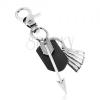 Szürke-fekete medál kulcsra matt patinált felszínnel, fém nyíl