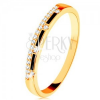Gyűrű 14K sárga aranyból - fekete fénymáz sávok, átlátszó cirkónia vonal