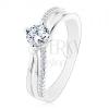 925 ezüst gyűrű, szétválasztott hullámos szárak, átlátszó kerek cirkónia