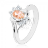 Ezüst színű gyűrű, világos narancssárga csiszolt ovális, átlátszó cirkóniák