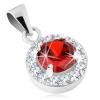 925 ezüst medál, kerek piros cirkónia, átlátszó szegély