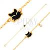 14K sárga arany karkötő, medálok - fekete kiscica, átlátszó cirkónia