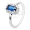 925 ezüst gyűrű, ródiumozott felülettel, négyzet alakú kék cirkónia