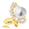 14K sárga arany medál - szabálytalan pillangó cirkóniás féllel és gyönggyel