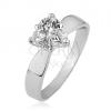 Gyűrű 925 ezüstből - átlátszó ciróniás szív, sima, fényes szárak